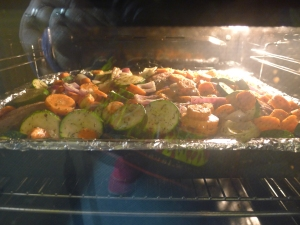 Modified sheet pan turkey dinner. I promise the turkey is in there underneath the veggie mountain.
